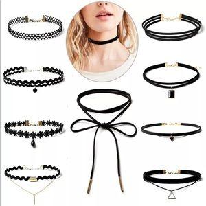 Jewelry - New 10 Pcs black velvet gothic punk collar choker